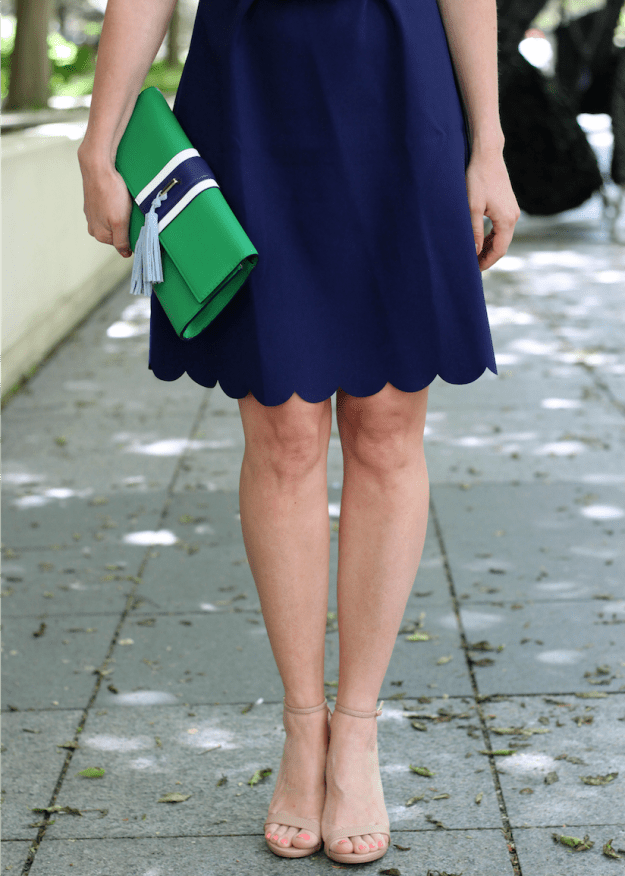 Work Wear Navy Scalloped Dress The Kissing Booth Blog