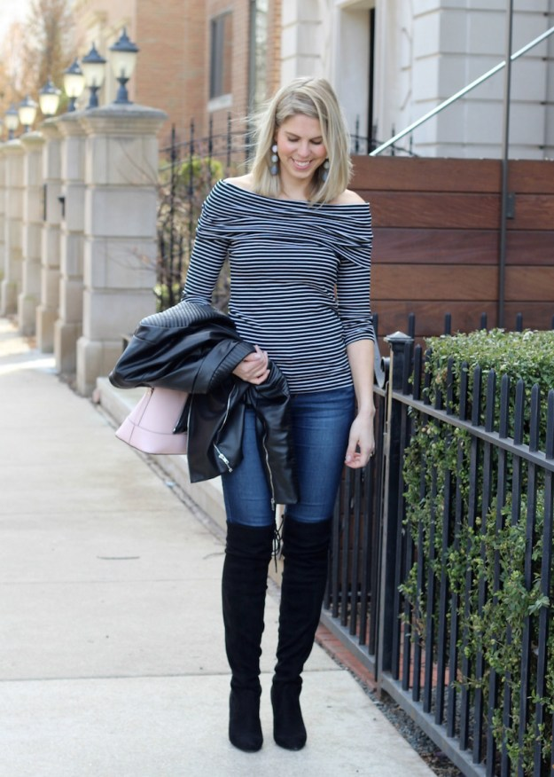 Spring stripe off the shoulder shirt with over the knee boots