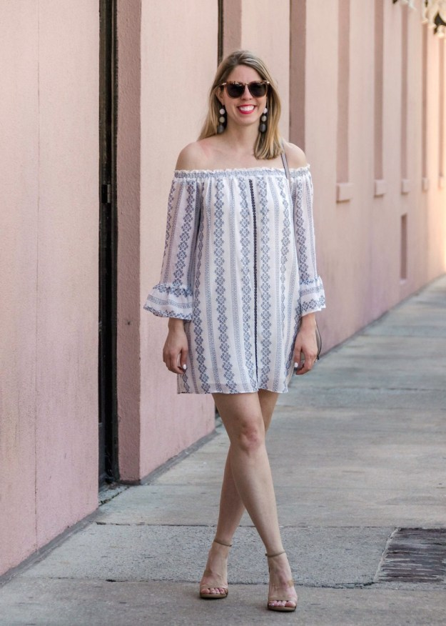 Black and white off the shoulder dress in Charleston