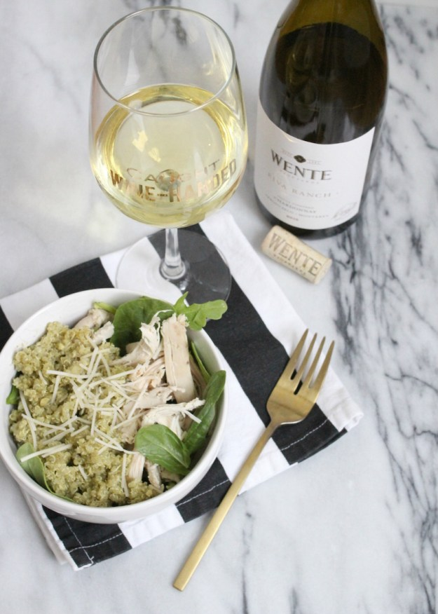 Wente wine with dinner - National Chardonnay Day