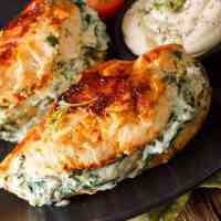 Pan Fried Spinach & Cream Cheese Stuffed Chicken