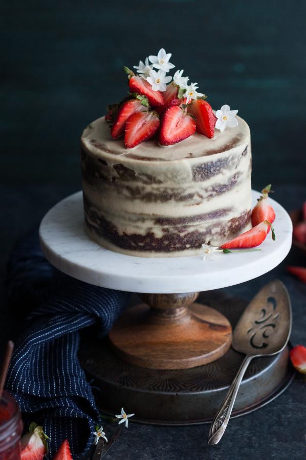 Strawberry Vanilla Almond Cream Layer Cake The Kitchen
