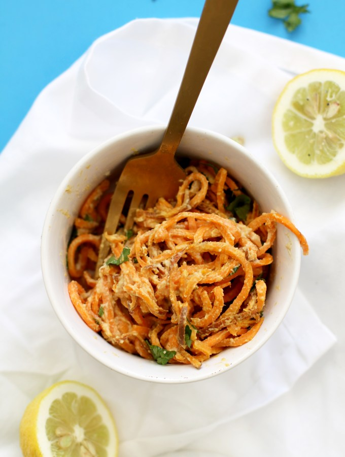 These creamy sweet potato noodles are the perfect dinner. They're vegan, gluten free, dairy free, and absolutely delicious! This dish is ready in under 30 minutes, is extremely filling, and easy to make.