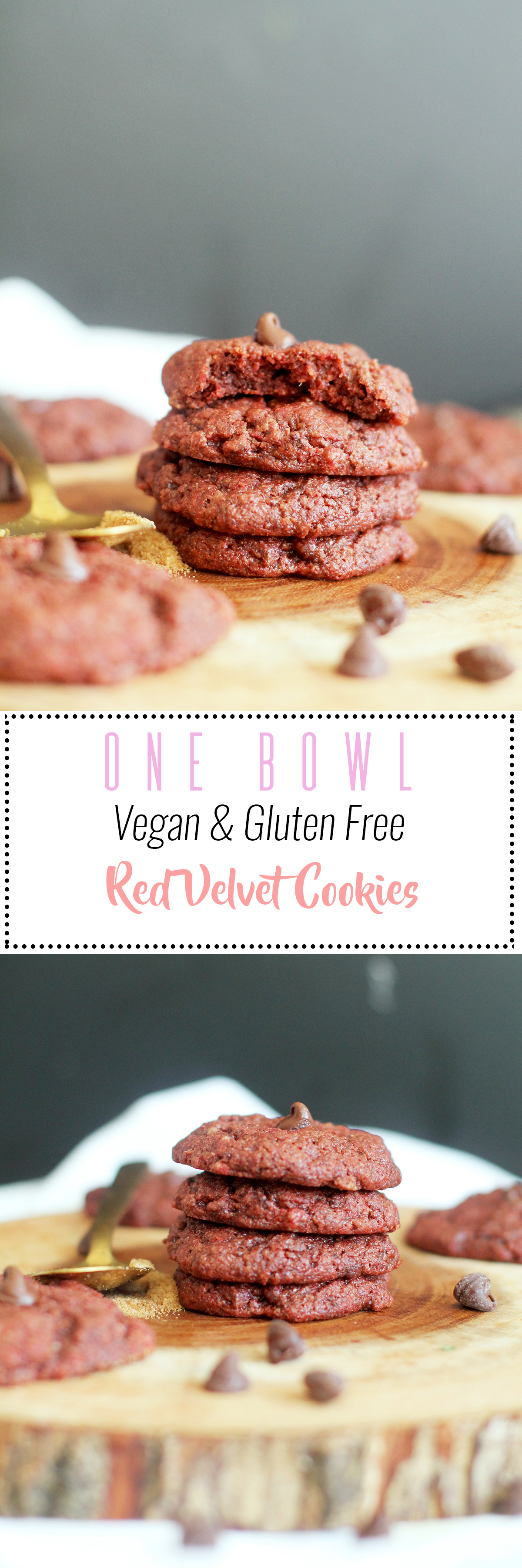 These one bowl red velvet cookies are vegan, gluten free, and absolutely delicious. They're naturally sweet, require one bowl, nine ingredients, and are the perfect dessert. Dunk them in some warm almond milk for a great treat!