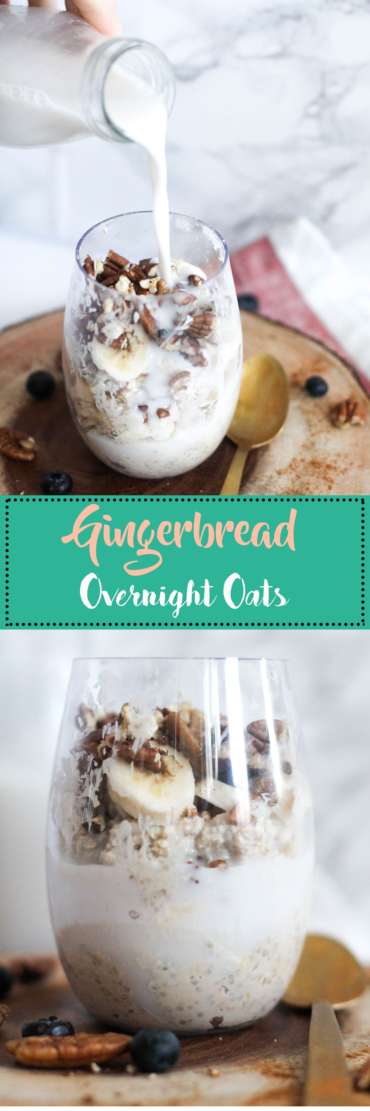 These gingerbread overnight oats take five minutes to make, require minimal ingredients, and make for the perfect breakfast! It's vegan friendly, gluten free, and full of protein.