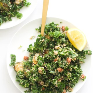 This toasted almond kale quinoa salad is packed with protein, healthy fats, and flavor. It takes 20 minutes and requires minimal ingredients.