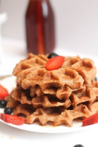 These waffles are 5 ingredients, fluffy, vegan, gluten free, and delicious! They take 30 minutes and are a great brunch or weekend breakfast.