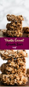These vanilla coconut granola bars are vegan, gluten free, and no bake! They're incredibly easy to make and are filled with flavor, plus they feature easy to find ingredients.