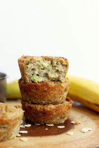 These banana zucchini muffins are vegan, gluten free, refined sugar free, and easy to make! They require one bowl and make for a healthy and delicious snack.