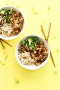 "This orange ""chicken"" tofu stir-fry is vegan, gluten free, protein packed, and a healthy twist on a classic take out meal! It's filled with flavor, takes minimal ingredients, and makes for a great meal."