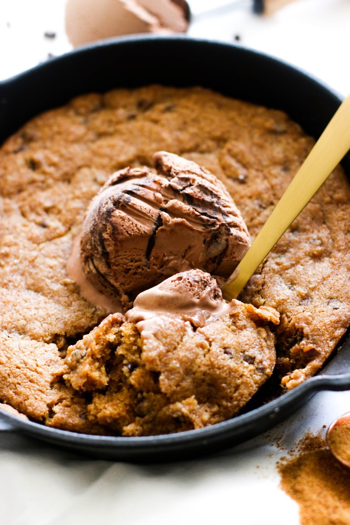 Vegan Salted Chocolate Chip Cookie Skillet