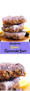 These blackberry lemon cheesecake bars are vegan, gluten free, paleo, and absolutely delicious! Made with minimal ingredients and no baking required, they're the perfect summer dessert.