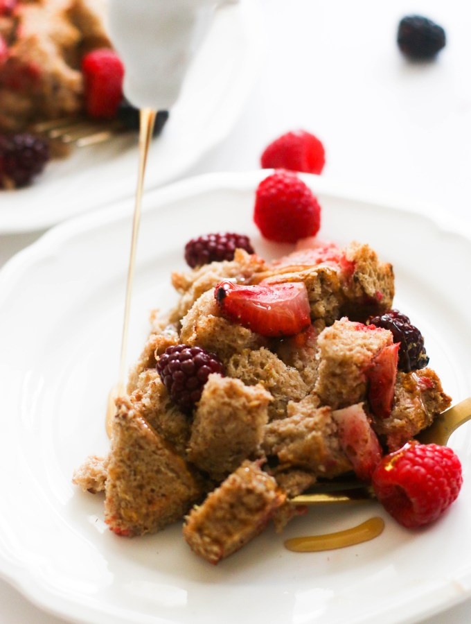 This mixed berry french toast casserole is vegan, full of flavor, and the perfect summer brunch! It's made with minimal ingredients, takes less than an hour to make, and is incredibly hearty.