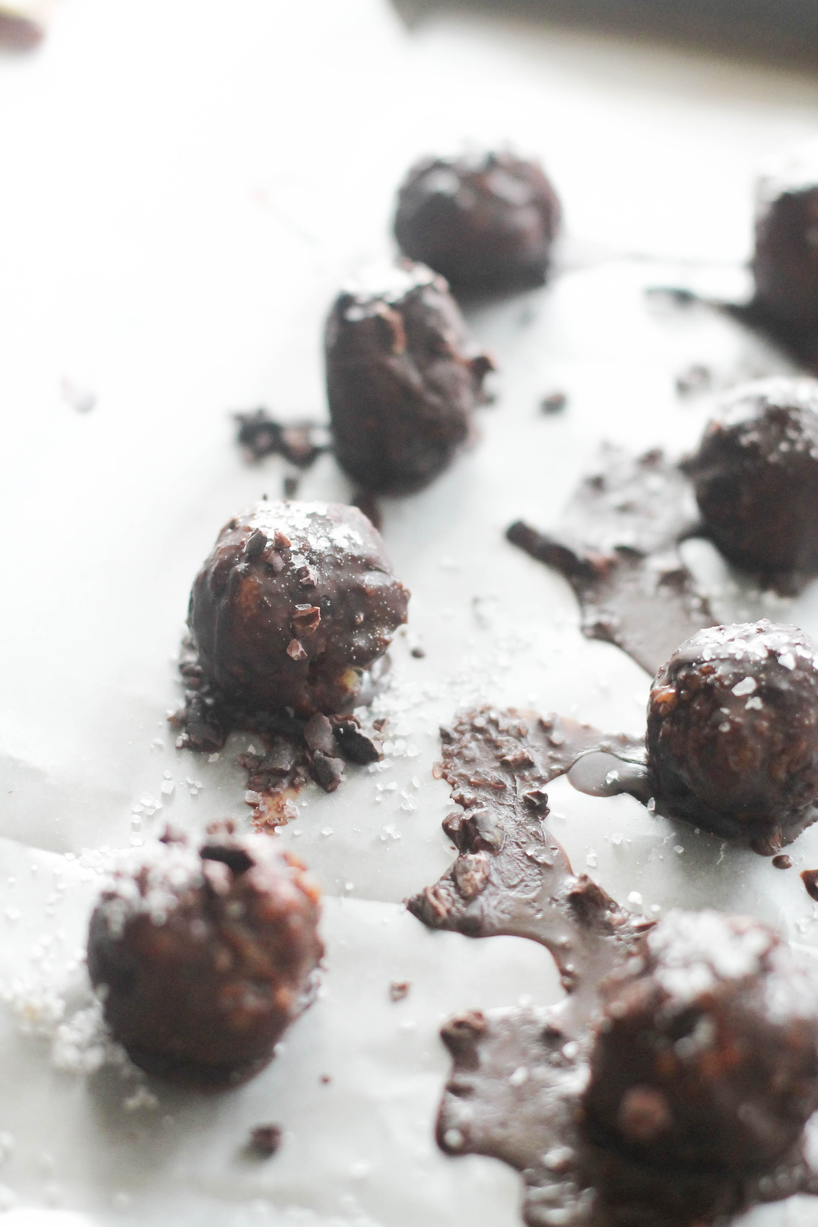 These dark chocolate sea salt truffles are the perfect healthy dessert. They're filled with healthy fats, natural sweetness, tons of flavor, and chocolate goodness. Plus, they're vegan, gluten free, and no bake!