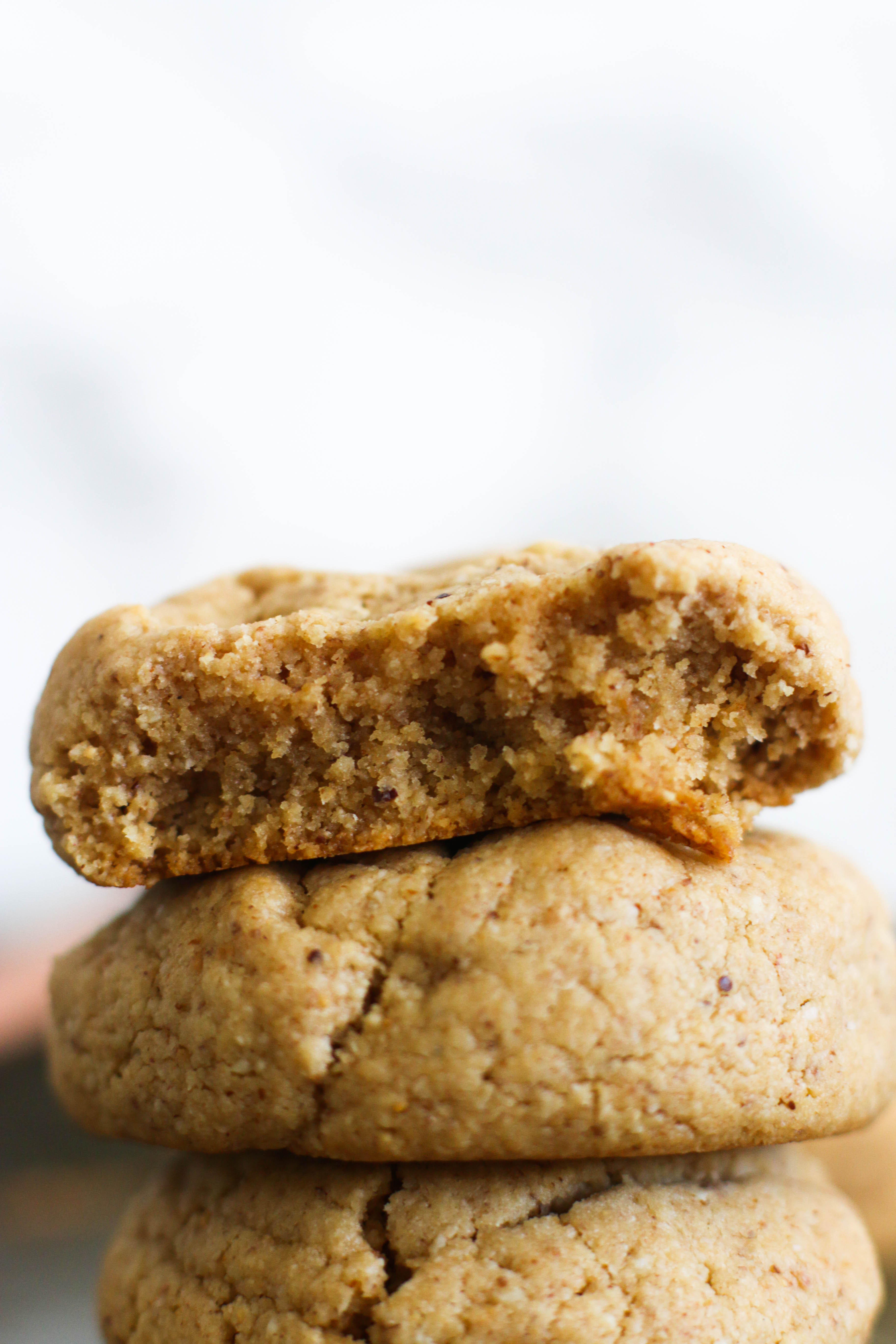 These soft & chewy almond butter cookies are vegan, gluten free, paleo, and the perfect treat. They're naturally sweet, filled with flavor, and require eight ingredients.
