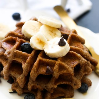 These whole wheat chocolate chip waffles are protein packed, refined sugar free, and incredibly delicious! They're filled with sweetness and make for the perfect weekend brunch.