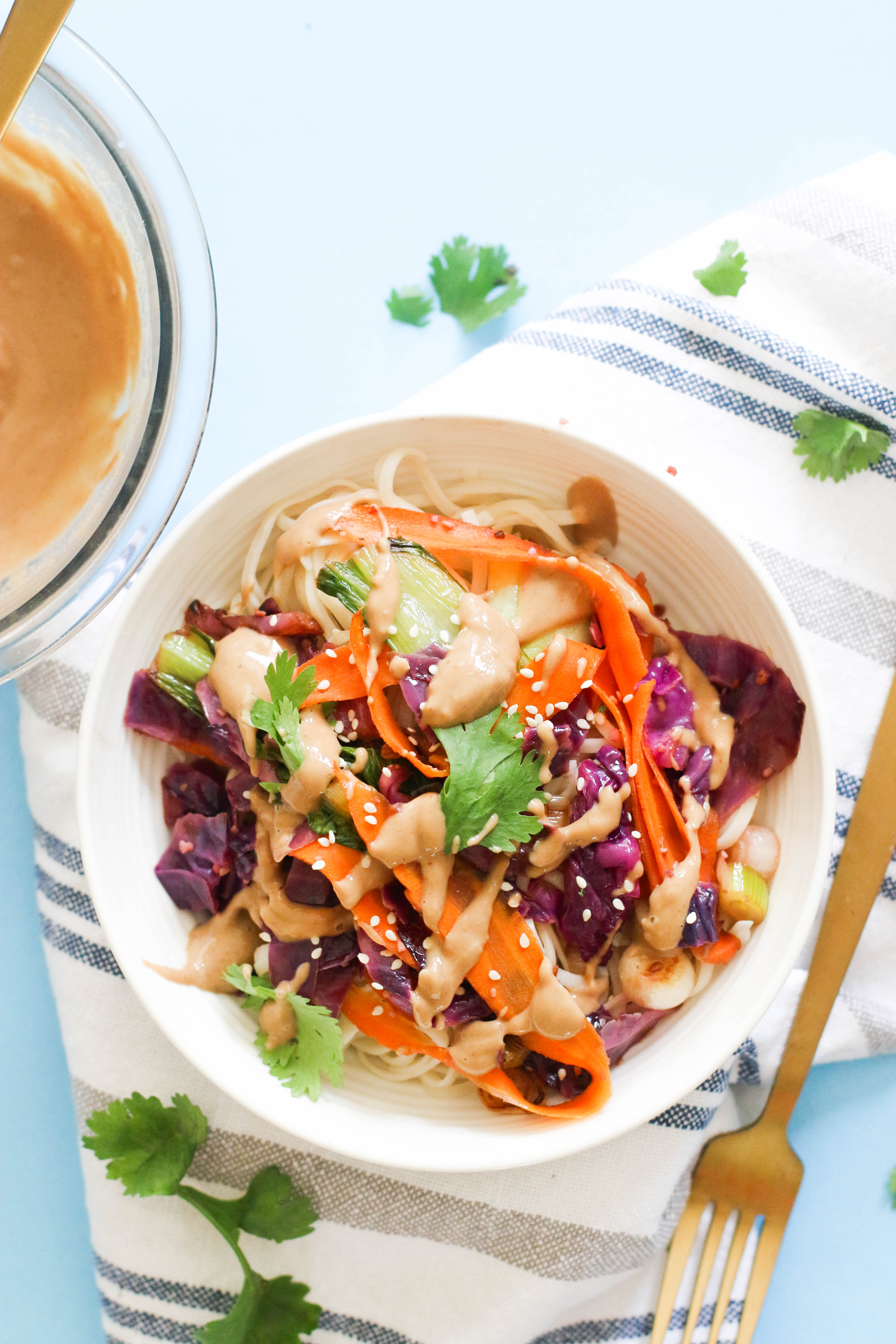 This 20 minute vegetable pad Thai is vegan, gluten free, protein packed, and filled with flavor! Made with minimal ingredients and filled with nutrients, it's a delicious week night dinner.