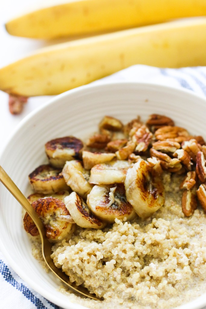 Caramelized Banana Quinoa Breakfast Bowl