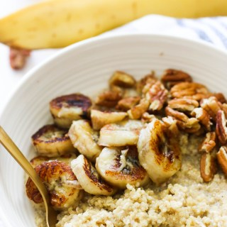 This caramelized banana quinoa breakfast bowl is packed with protein, gluten free, and makes for the perfect quick breakfast!