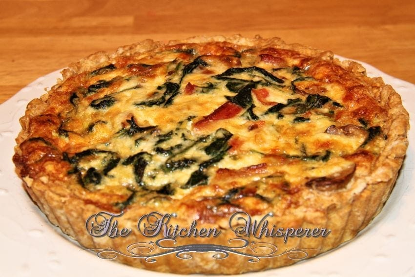 Bacon Mushroom Florentine Quiche with Olive Oil Savory Crust2