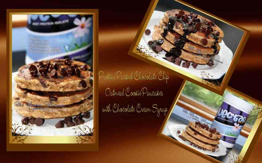 Protein Packed Chocolate Chip Oatmeal Cookie Pancakes with Chocolate Cream Syrup Collage