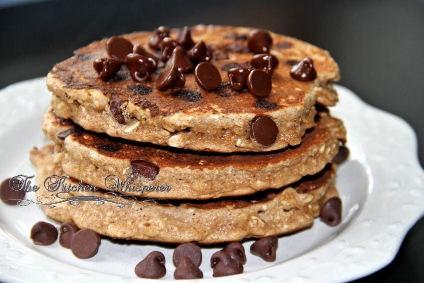 Protein Packed Chocolate Chip Oatmeal Cookie Pancakes with Chocolate Cream Syrup3