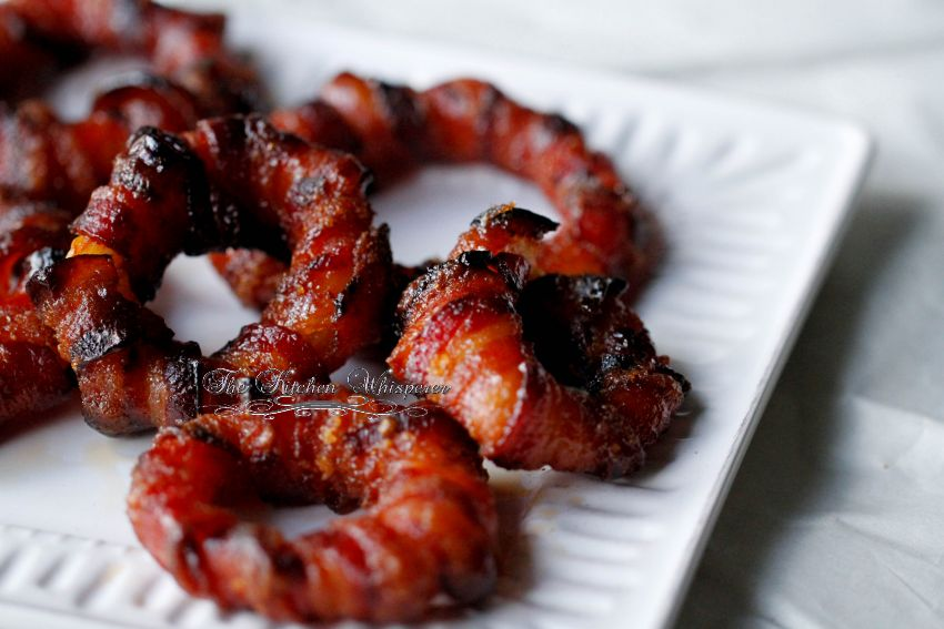 Baked Sriracha Glazed Bacon Wrapped Onion Rings8