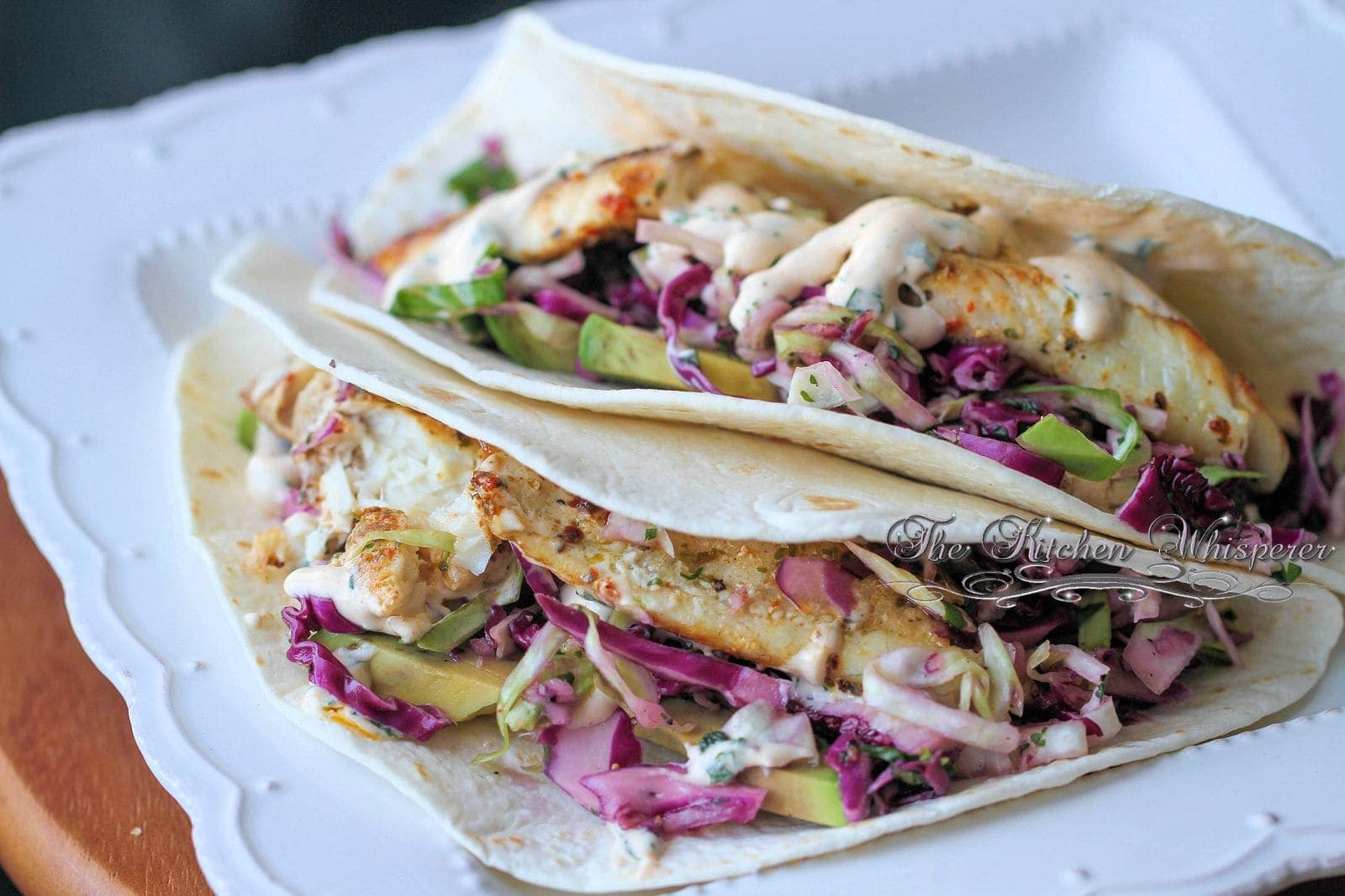 Grilled fish soft tacos with baja cream sauce for Fish taco recipe sauce
