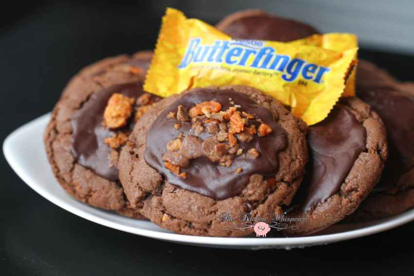 Chocolate Cookie Butter Cookies with Butterfinger Crumbles