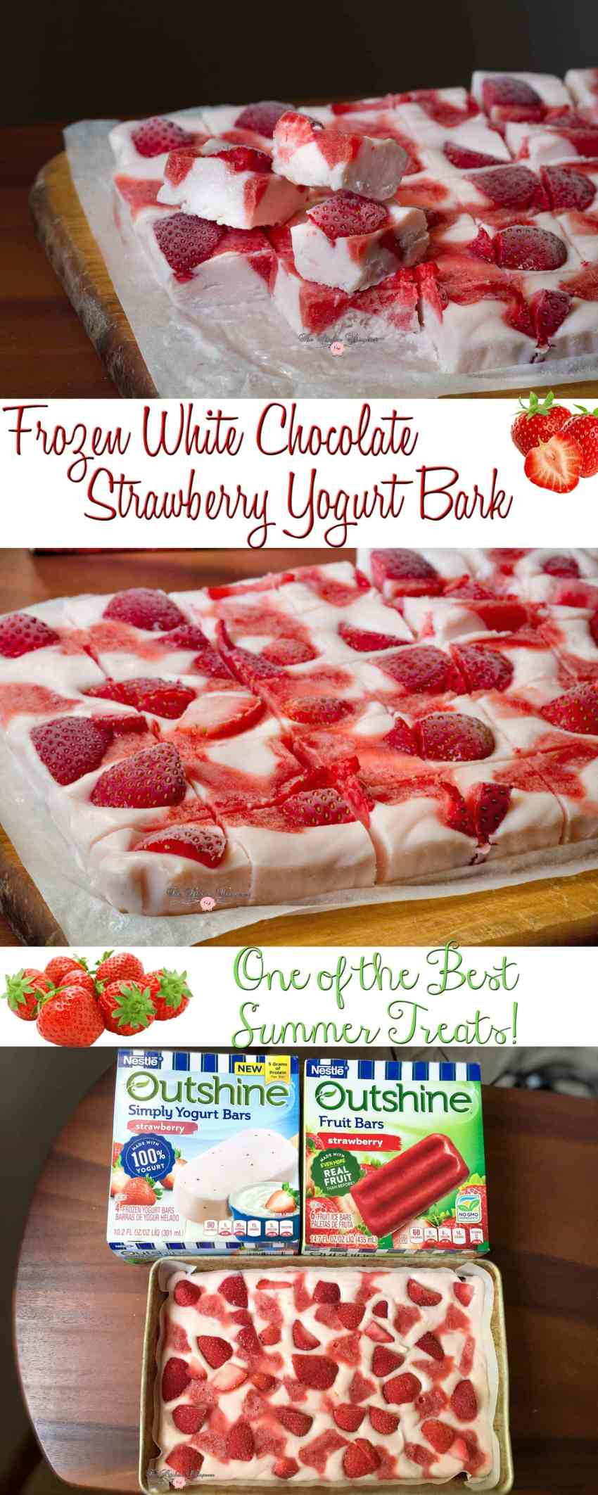 Frozen White Chocolate Strawberry Yogurt Bark Collage1