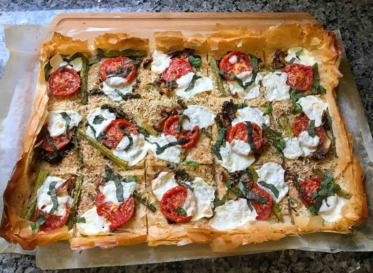 Roasted Vegetable Phyllo Dough Pizza