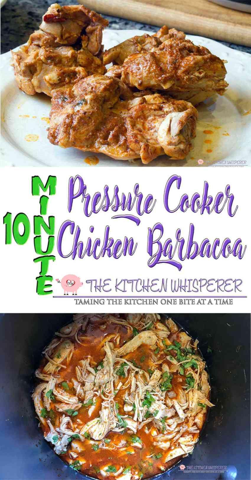 10 Minute Pressure Cooker Chicken Barbacoa