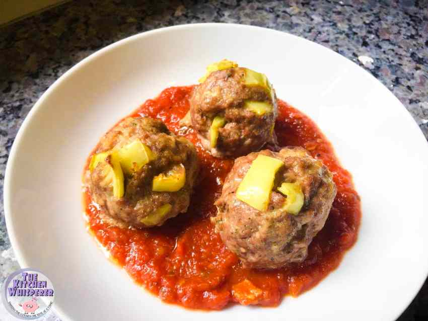 Three Meat Banana Pepper Meatballs