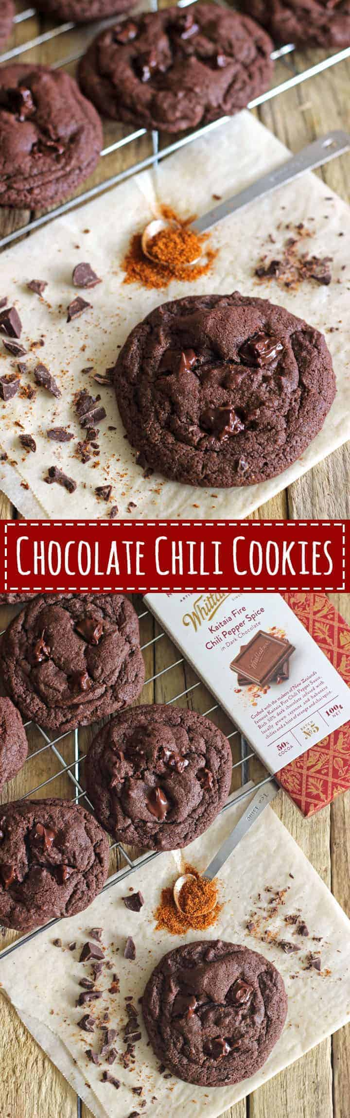 Chocolate Chili Cookie recipe at thekiwicountrygirl.com. Soft and chewy chocolate cookies with a hint of chili and cinnamon and chili chocolate chunks to boot!