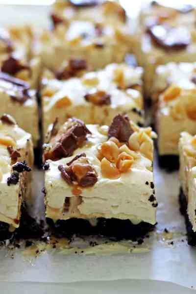 No Bake Snickers Cheesecake Bars