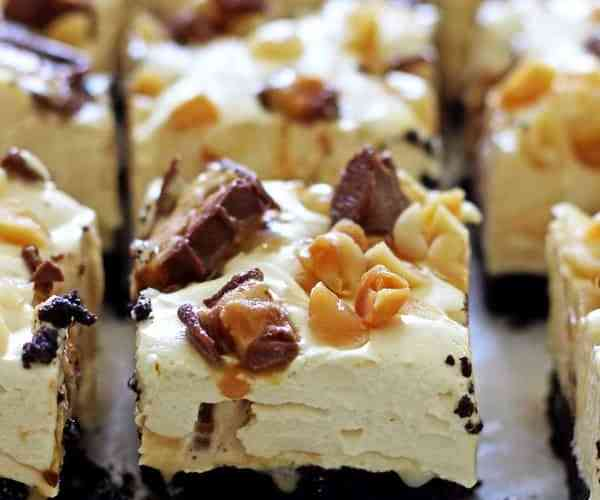 No Bake Snickers Cheesecake Bars