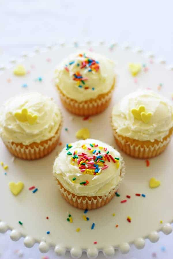 Another quick and easy small batch recipe - small batch vanilla cupcakes! Makes 4 cupcakes in less than 30 minutes - perfect for celebrations! | thekiwicountrygirl.com