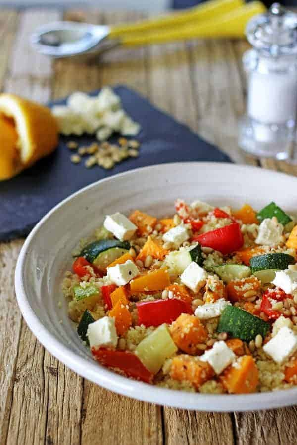 Roast Vege Couscous Salad - the perfect quick and easy lunch or side dish. Full of roast veges and with a simple lemon dressing this is an awesome dish!   thekiwicountrygirl.com