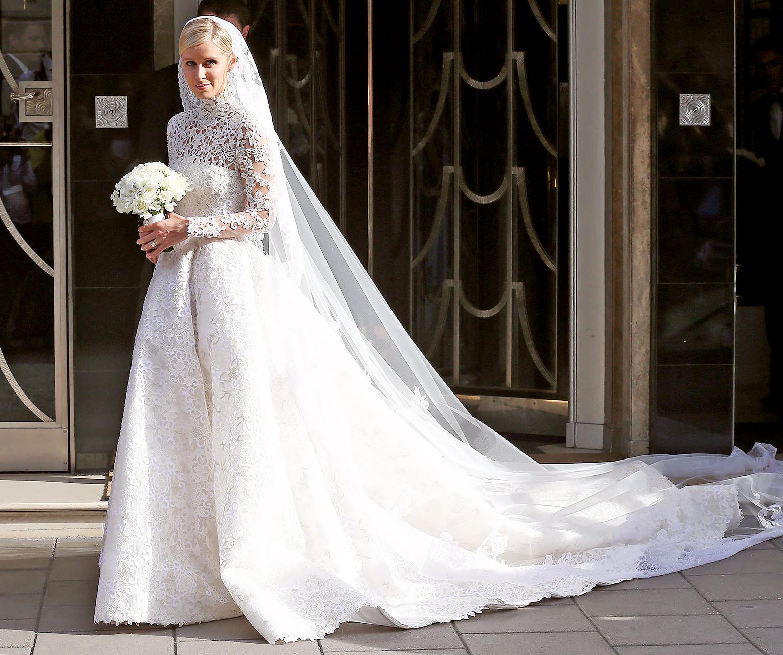Nicky Hilton wears a Valentino couture wedding dress