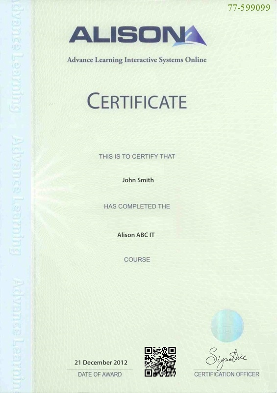 Sample Parchment Certificate from Alison
