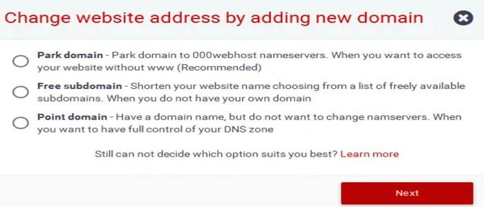 000Webhost domain linking options d5jhl8