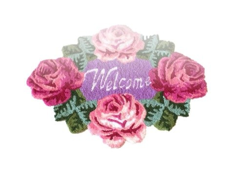 4 Pink Rose Welcome Rugs