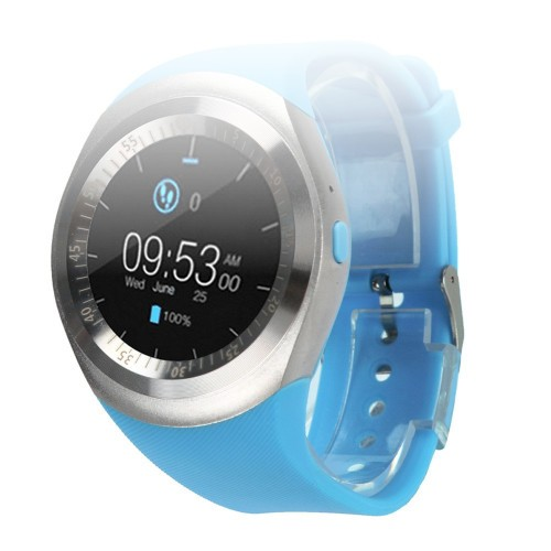 Huangou Bluetooth Smart Watch Fitness Sleep Tracker Phone Mate Full Round Screen SIM for Android for iOS (Blue)