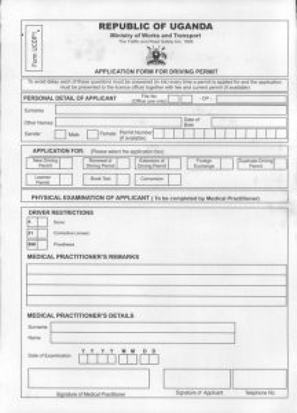 Application for Driving Permit Medical Form