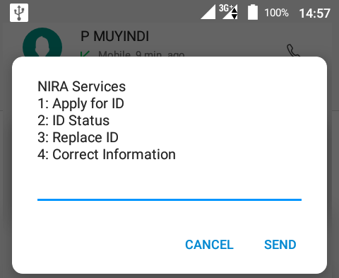 Check application status using phone NIRA