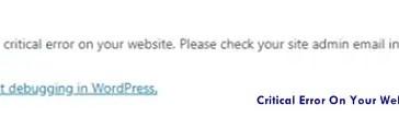 Critical Error On Your Website WordPress