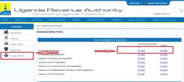 Download DT TIN registration eForms