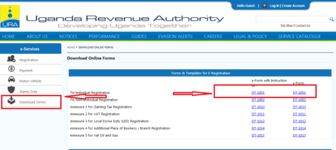 Download DT TIN registration eForms