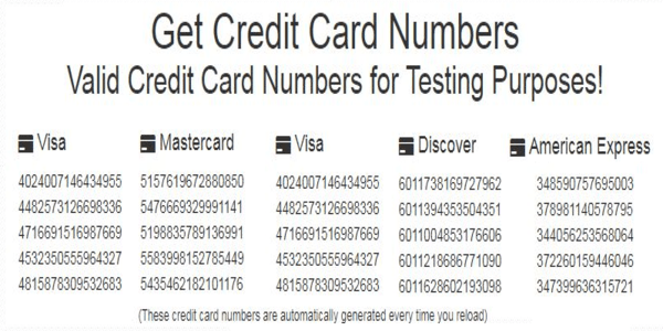 Generate 100% Free Valid Credit Card Numbers for Data Testing and Other Verification Purposes