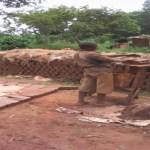 Home made bricks laying in Uganda